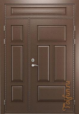 Двухстворчатая входная дверь с глухой вставкой
