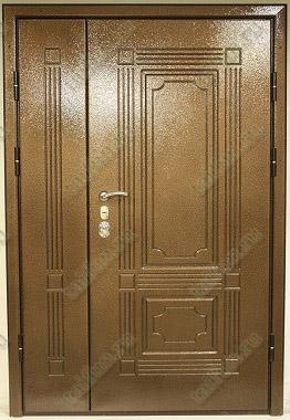 Двухстворчатая металлическая дверь с панелью мдф покрытием WS-plast
